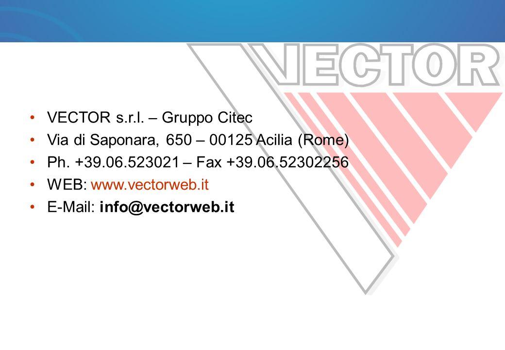 VECTOR s.r.l. – Gruppo Citec Via di Saponara, 650 – 00125 Acilia (Rome) Ph. +39.06.523021 – Fax +39.06.52302256 WEB: www.vectorweb.it E-Mail: info@vec
