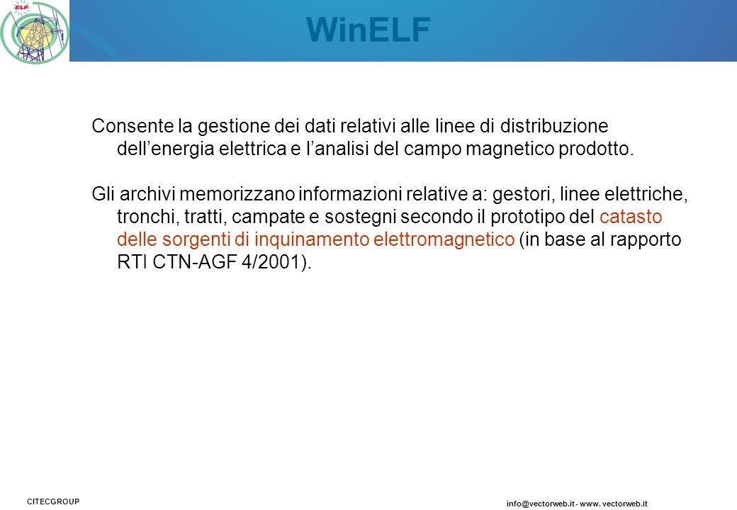 WinELF Consente la gestione dei dati relativi alle linee di distribuzione dellenergia elettrica e lanalisi del campo magnetico prodotto. Gli archivi m