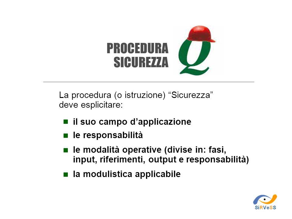 La procedura (o istruzione) Sicurezza deve esplicitare: il suo campo dapplicazione le responsabilità le modalità operative (divise in: fasi, input, ri