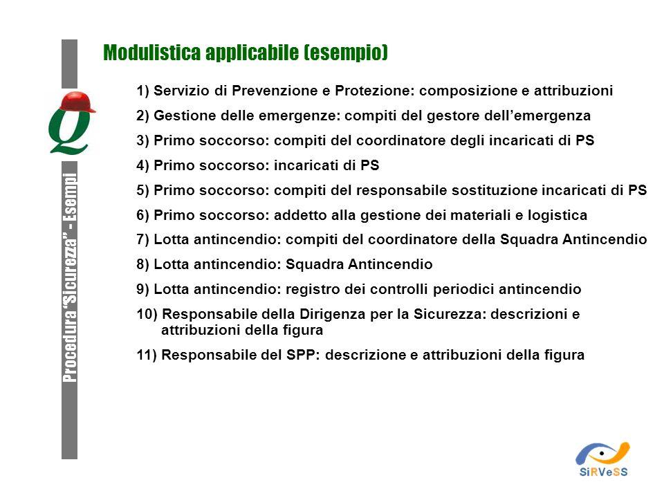 Modulistica applicabile (esempio) 1) Servizio di Prevenzione e Protezione: composizione e attribuzioni 2) Gestione delle emergenze: compiti del gestor