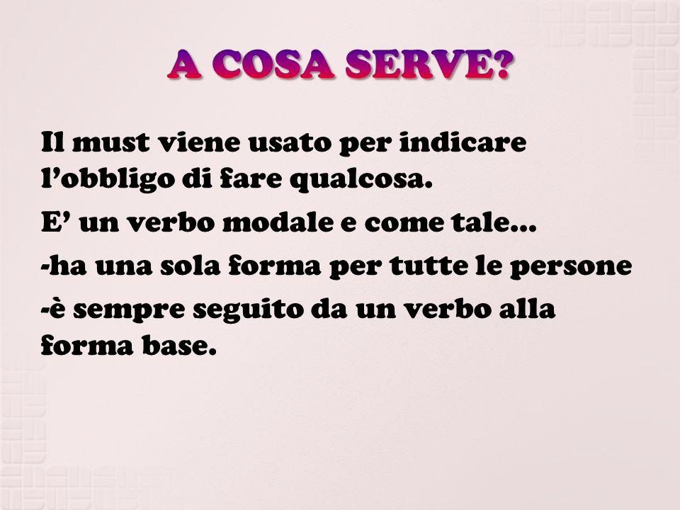 Una frase con il must deve essere formata da: Soggetto+ Must+ Verbo alla forma base+ Complementi.