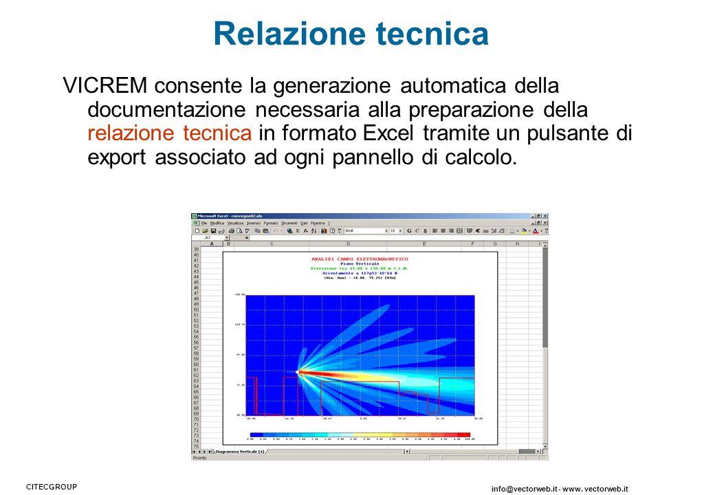 VICREM consente la generazione automatica della documentazione necessaria alla preparazione della relazione tecnica in formato Excel tramite un pulsan