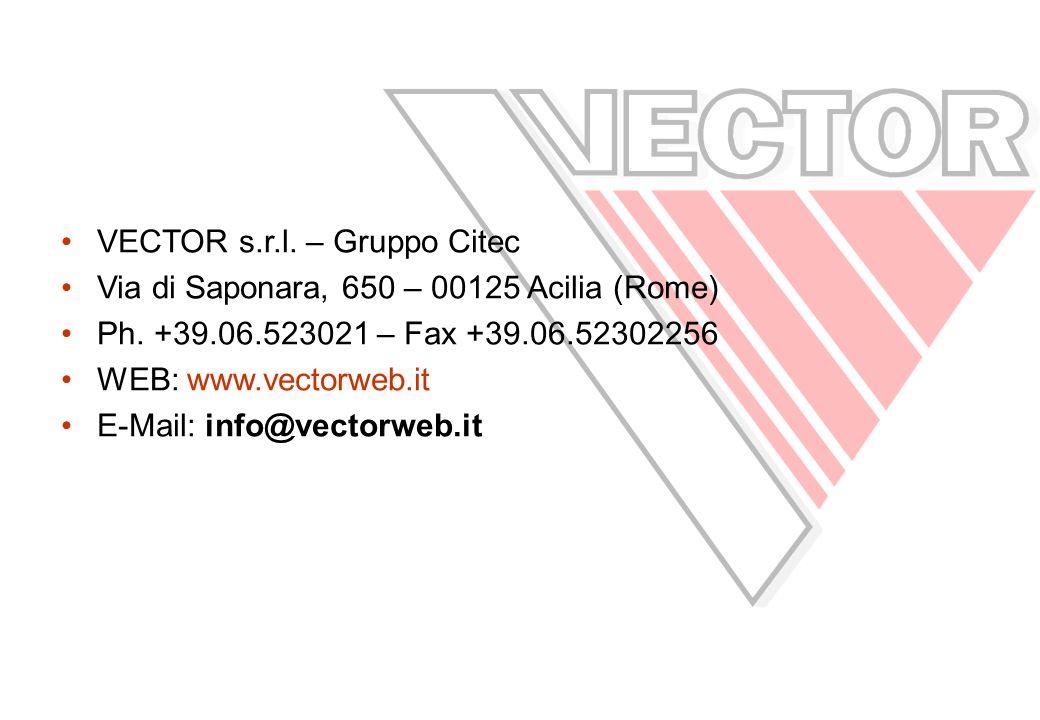 VECTOR s.r.l.– Gruppo Citec Via di Saponara, 650 – 00125 Acilia (Rome) Ph.