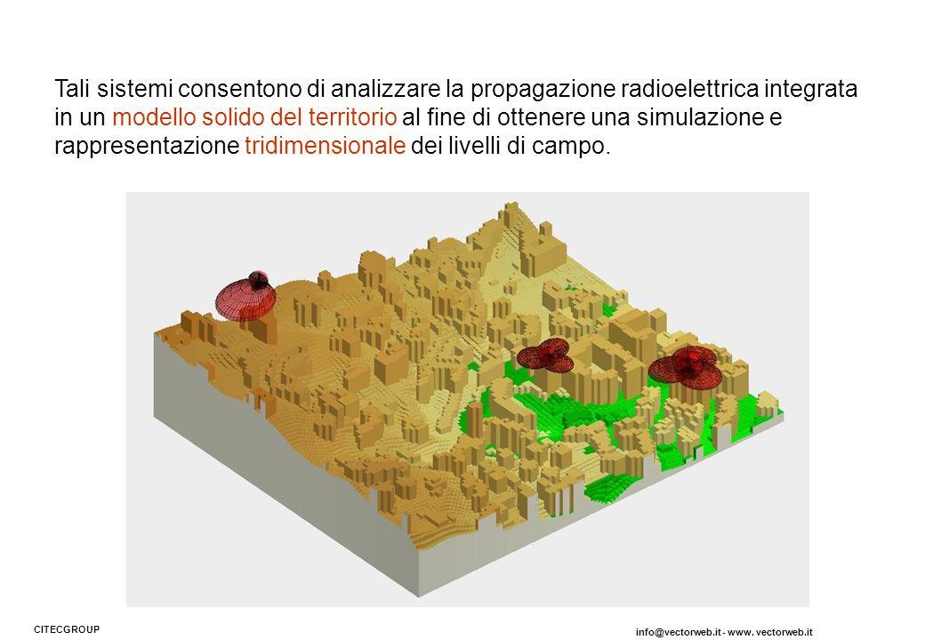 Tali sistemi consentono di analizzare la propagazione radioelettrica integrata in un modello solido del territorio al fine di ottenere una simulazione e rappresentazione tridimensionale dei livelli di campo.