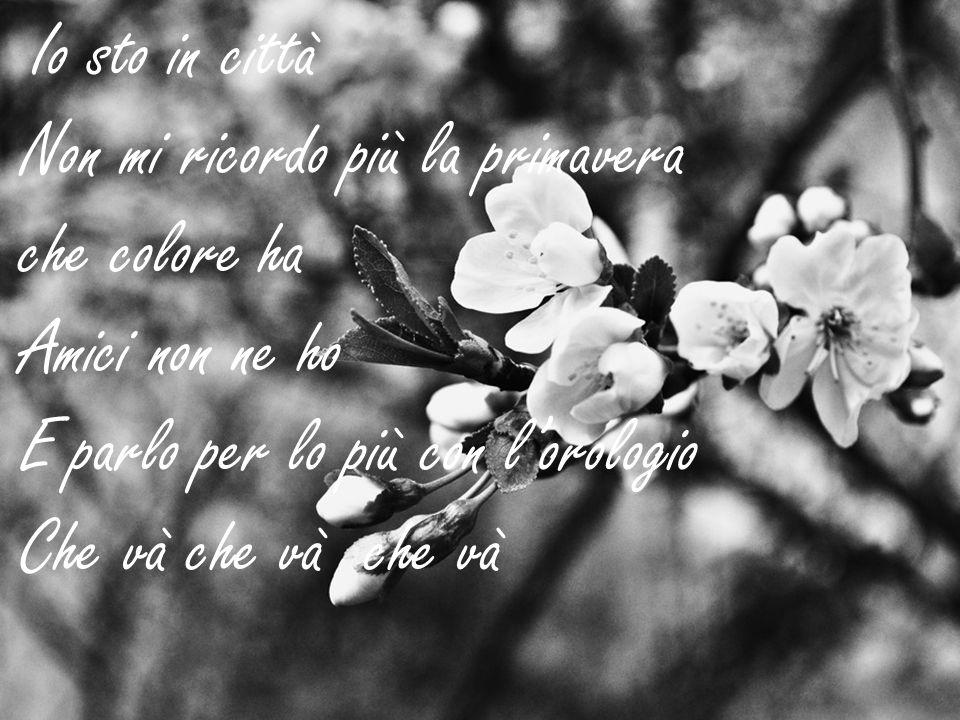Io sto in città Non mi ricordo più la primavera che colore ha Amici non ne ho E parlo per lo più con lorologio Che và che và che và