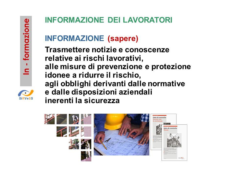INFORMAZIONE DEI LAVORATORI INFORMAZIONE (sapere) Trasmettere notizie e conoscenze relative ai rischi lavorativi, alle misure di prevenzione e protezi