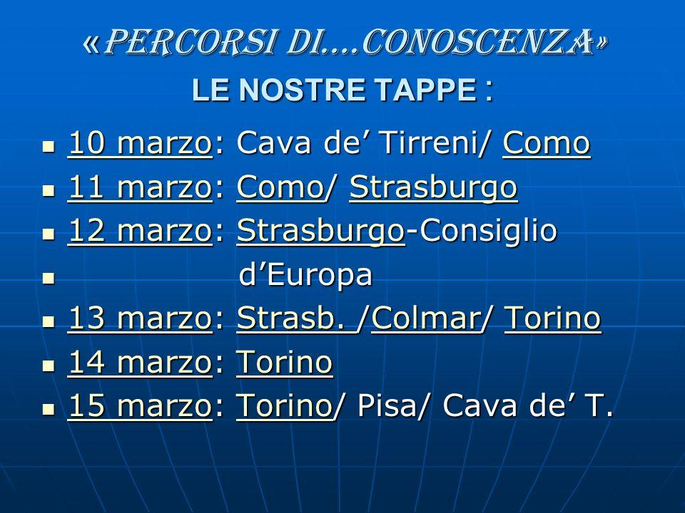 « percorsi di….conoscenza» LE NOSTRE TAPPE : 10 marzo: Cava de Tirreni/ Como 10 marzo: Cava de Tirreni/ Como 10 marzoComo 10 marzoComo 11 marzo: Como/