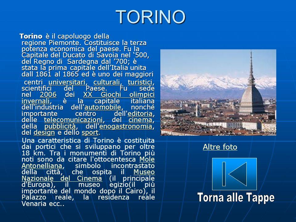 TORINO Torino è il capoluogo della regione Piemonte. Costituisce la terza potenza economica del paese. Fu la Capitale del Ducato di Savoia nel 500, de