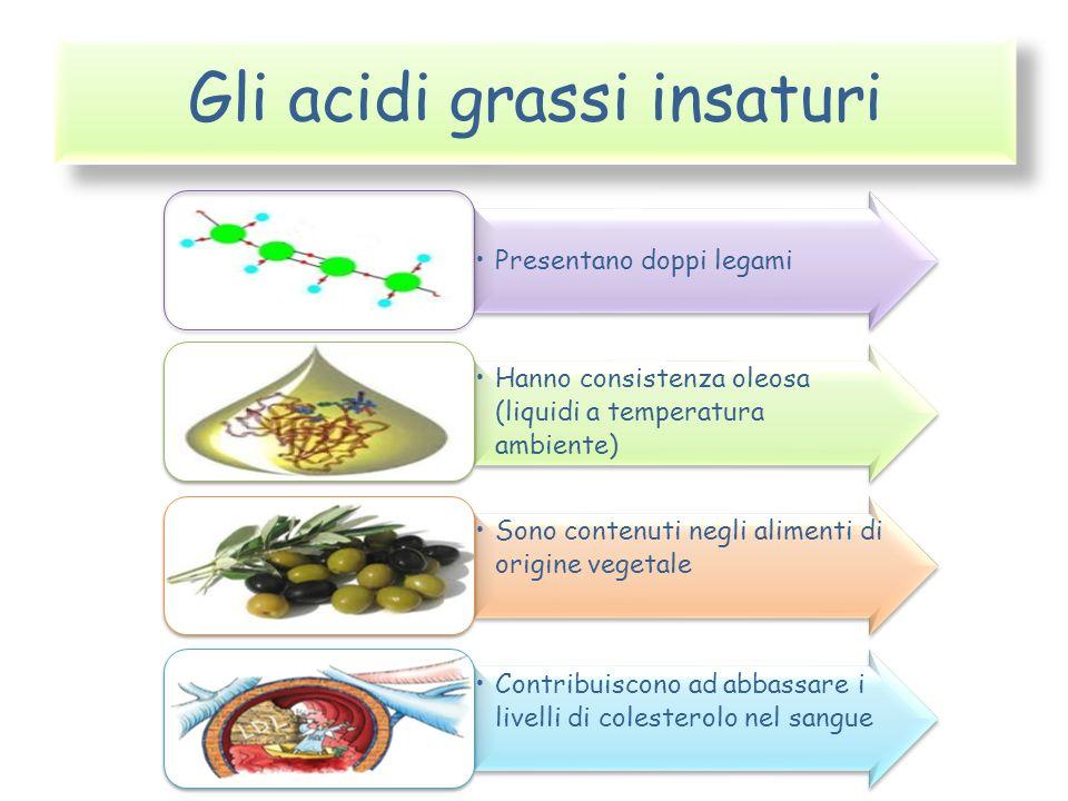 Gli acidi grassi insaturi Presentano doppi legami Hanno consistenza oleosa (liquidi a temperatura ambiente) Sono contenuti negli alimenti di origine v
