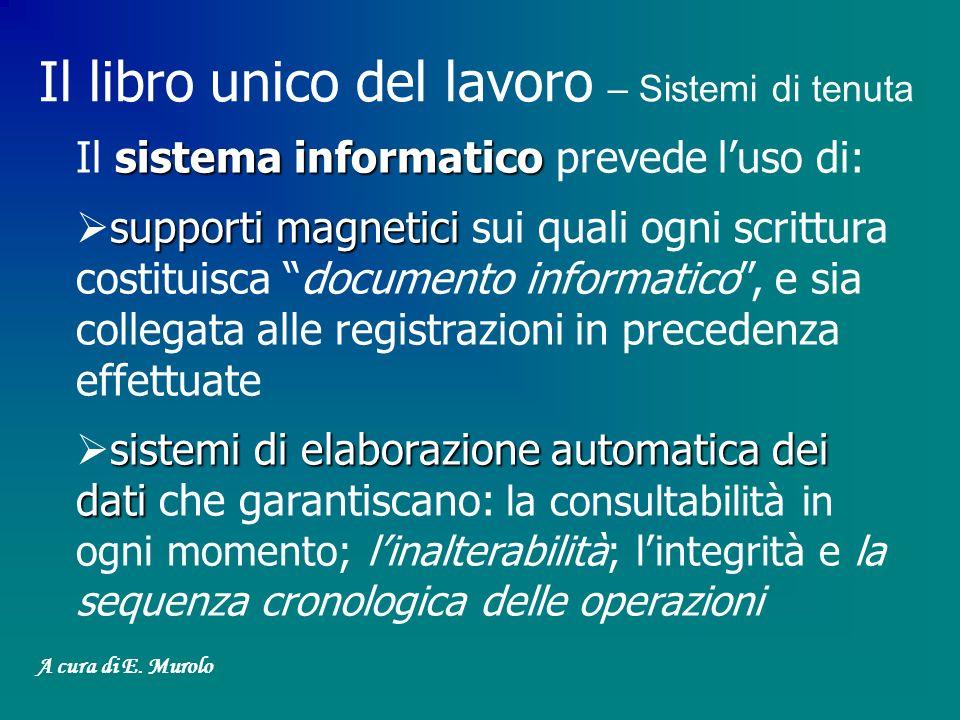 Il libro unico del lavoro – Sistemi di tenuta sistema informatico Il sistema informatico prevede luso di: supporti magnetici supporti magnetici sui qu