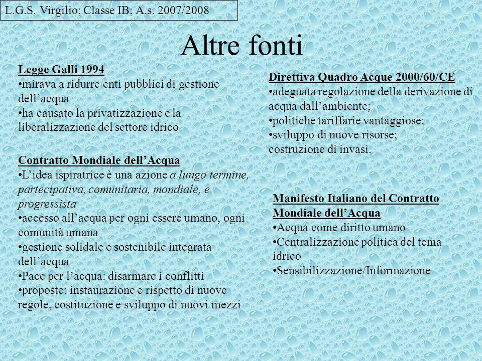 Altre fonti L.G.S. Virgilio; Classe IB; A.s. 2007/2008 Legge Galli 1994 mirava a ridurre enti pubblici di gestione dellacqua ha causato la privatizzaz