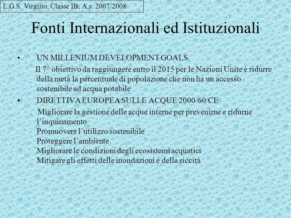 Fonti Internazionali ed Istituzionali UN MILLENIUM DEVELOPMENT GOALS Il 7° obiettivo da raggiungere entro il 2015 per le Nazioni Unite è ridurre della