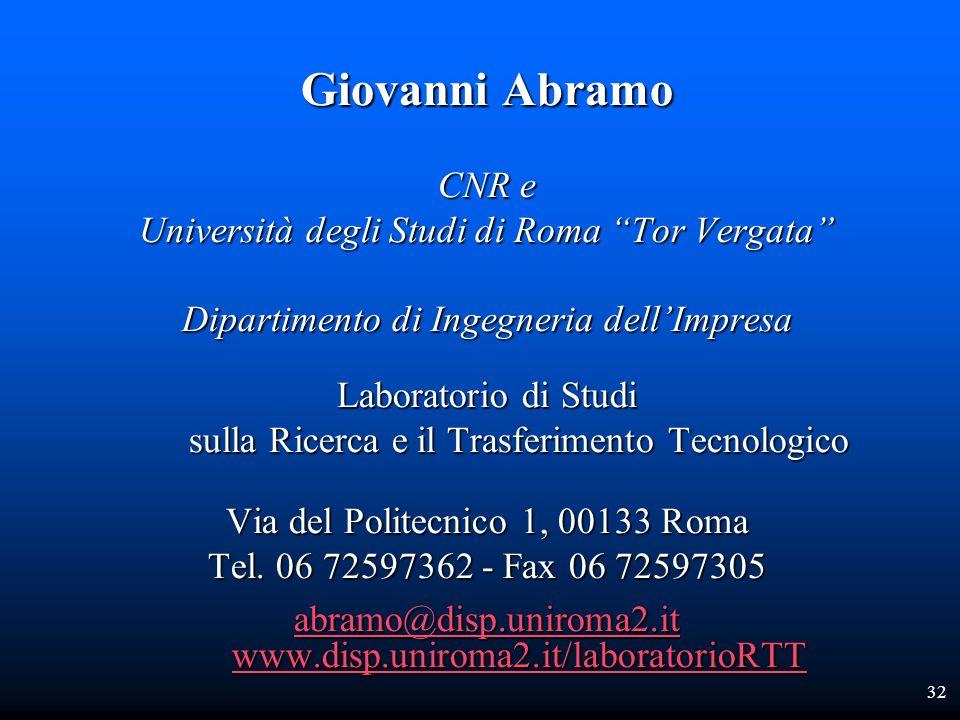 32 Giovanni Abramo CNR e Università degli Studi di Roma Tor Vergata Dipartimento di Ingegneria dellImpresa Laboratorio di Studi sulla Ricerca e il Tra
