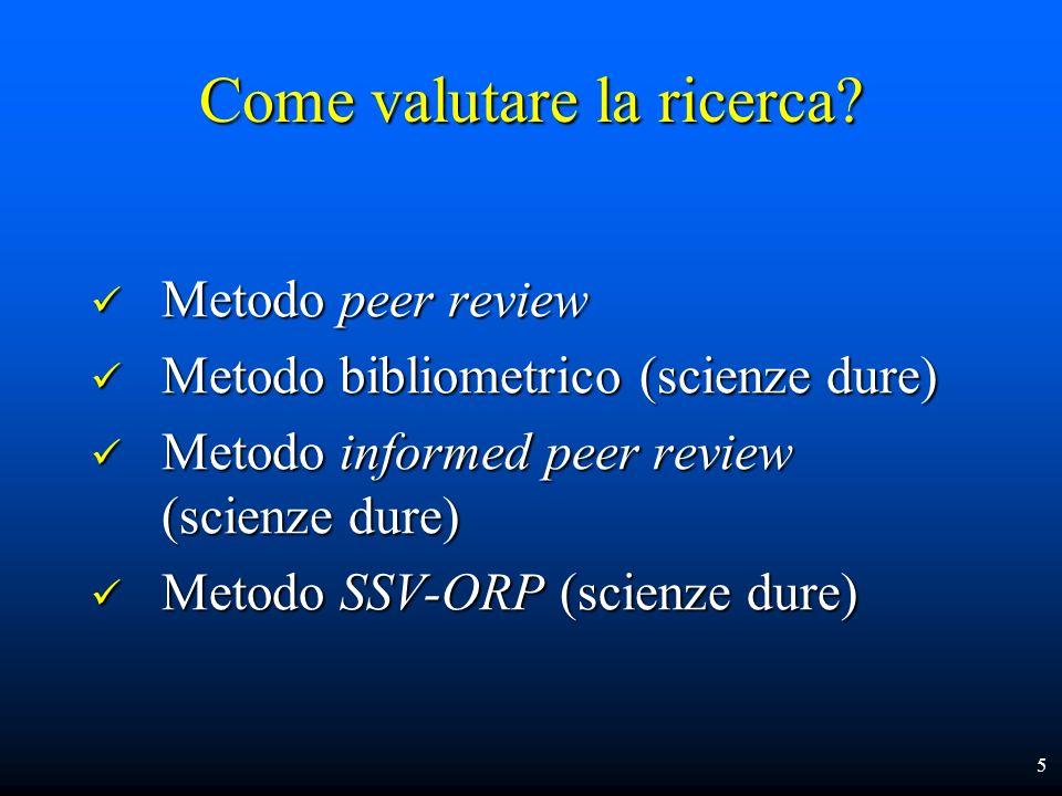 Peer Review vs Bibliometria È migliore la valutazione di qualità di due esperti o dellintera comunità scientifica mondiale.