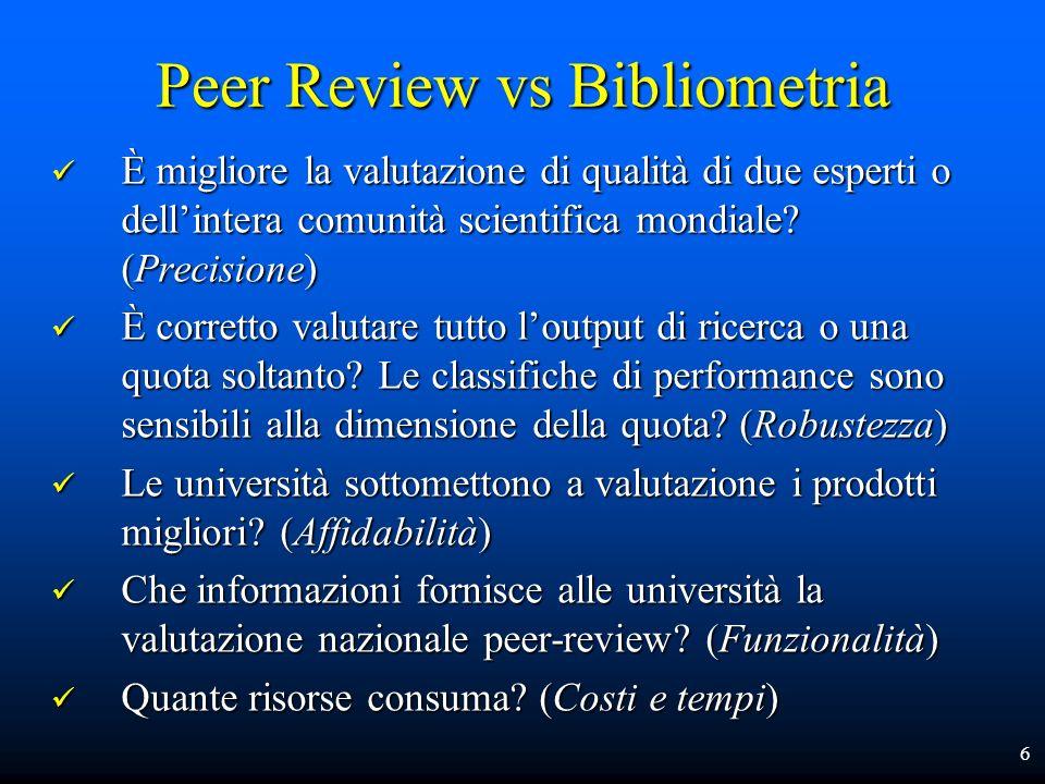Peer Review vs Bibliometria È migliore la valutazione di qualità di due esperti o dellintera comunità scientifica mondiale? (Precisione) È migliore la