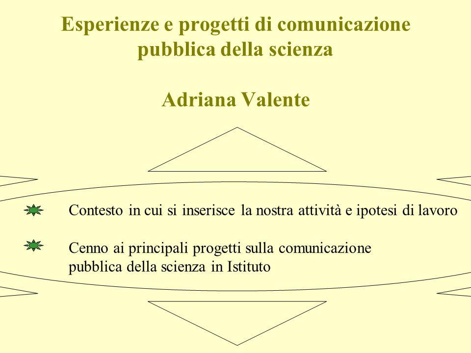 Esperienze e progetti di comunicazione pubblica della scienza Adriana Valente Contesto in cui si inserisce la nostra attività e ipotesi di lavoro Cenno ai principali progetti sulla comunicazione pubblica della scienza in Istituto