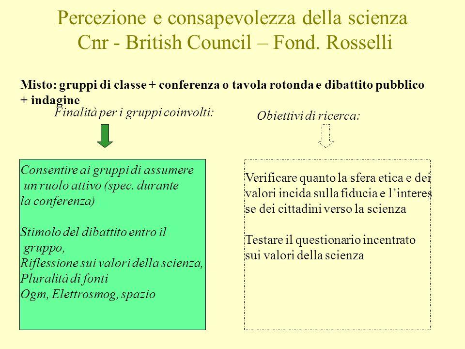 Percezione e consapevolezza della scienza Cnr - British Council – Fond. Rosselli Finalità per i gruppi coinvolti: Obiettivi di ricerca: Consentire ai
