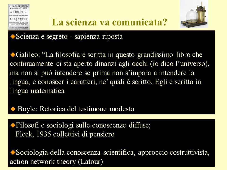 La scienza va comunicata? Scienza e segreto - sapienza riposta Galileo: La filosofia è scritta in questo grandissimo libro che continuamente ci sta ap