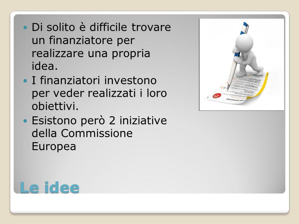 Le idee Di solito è difficile trovare un finanziatore per realizzare una propria idea.