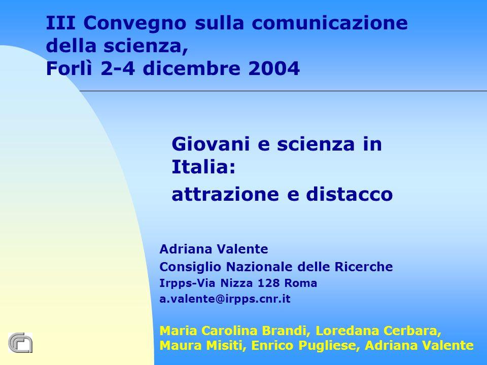 Fonte: indagine Irpps-Cnr Giovani e Scienza, 2004 F= 27,7 M=20 F= 35,8 M=38,7 F= 7,6 M=8,4 F= 5,6 M=9,9 =
