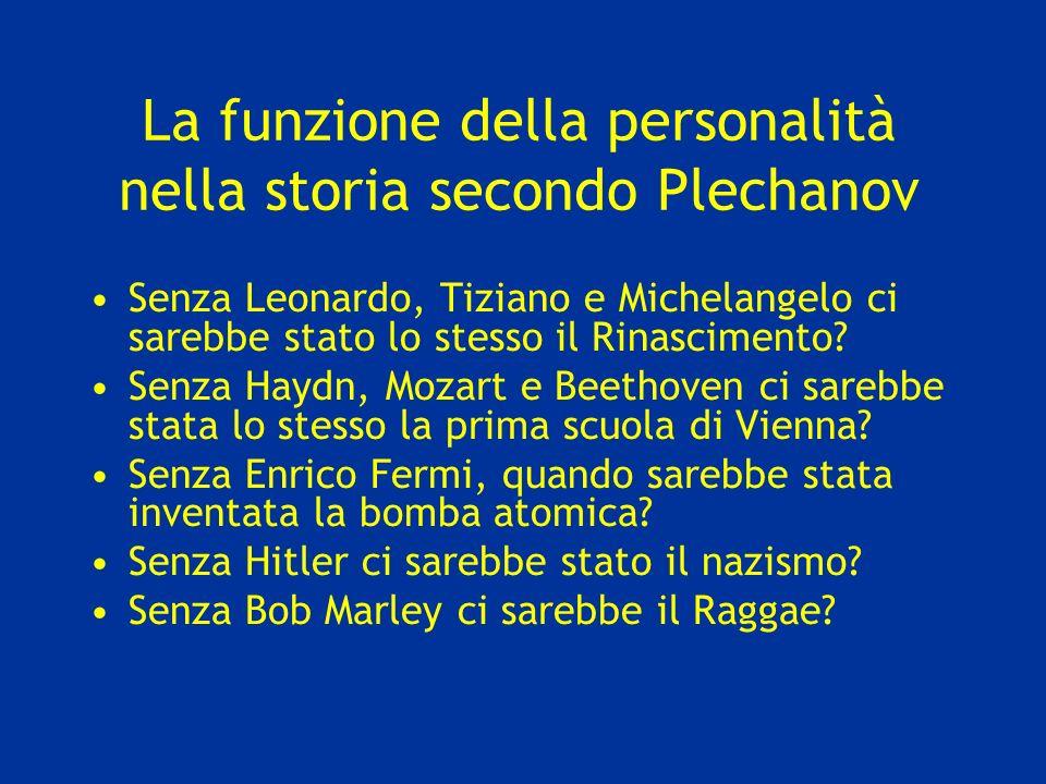 La funzione della personalità nella storia secondo Plechanov Senza Leonardo, Tiziano e Michelangelo ci sarebbe stato lo stesso il Rinascimento.
