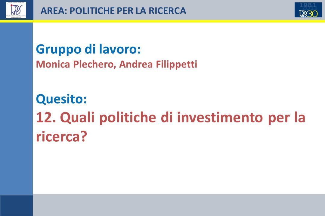 AREA: POLITICHE PER LA RICERCA Gruppo di lavoro: Monica Plechero, Andrea Filippetti Quesito: 12. Quali politiche di investimento per la ricerca?