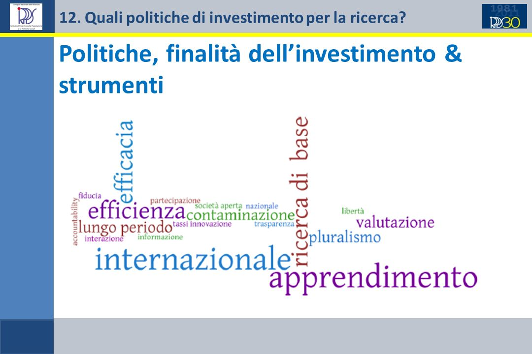 12. Quali politiche di investimento per la ricerca? Problematiche