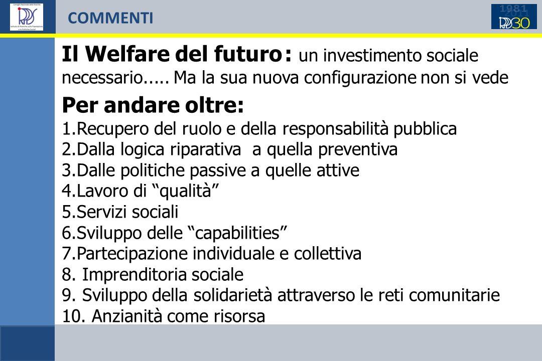 COMMENTI Il Welfare del futuro : un investimento sociale necessario.....