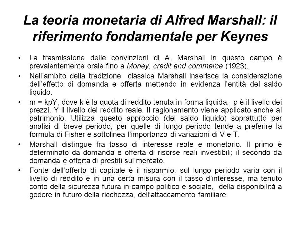 La teoria monetaria di Alfred Marshall: il riferimento fondamentale per Keynes La trasmissione delle convinzioni di A.