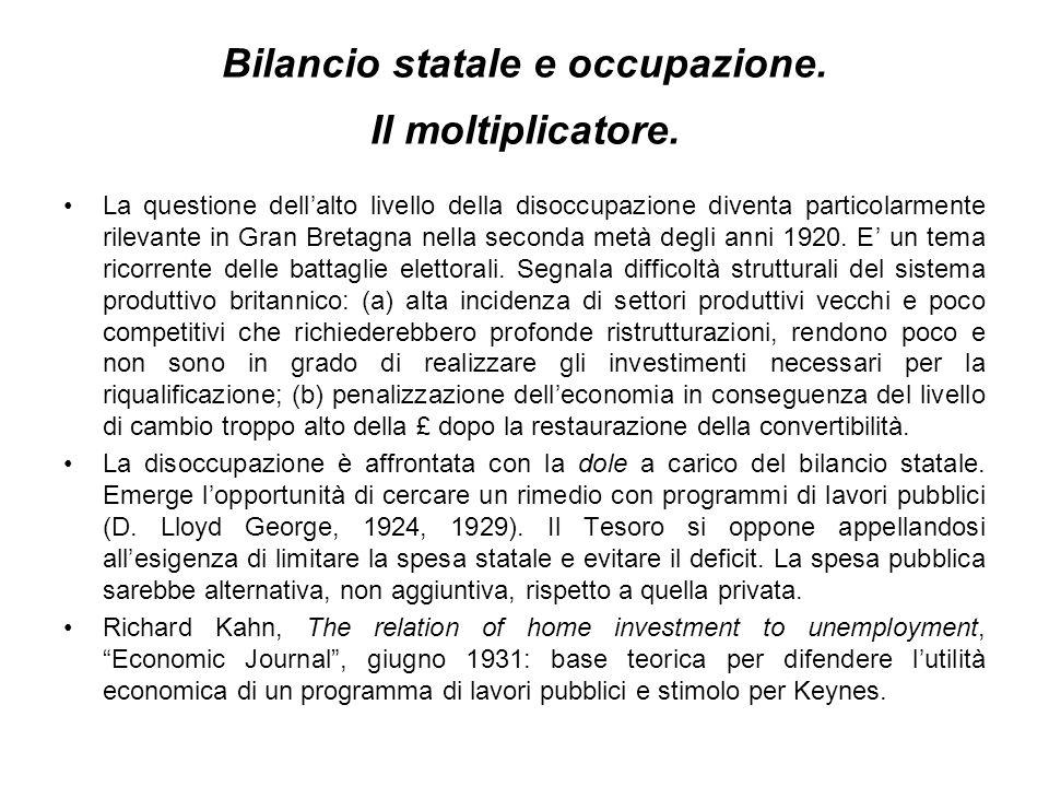 Bilancio statale e occupazione. Il moltiplicatore.