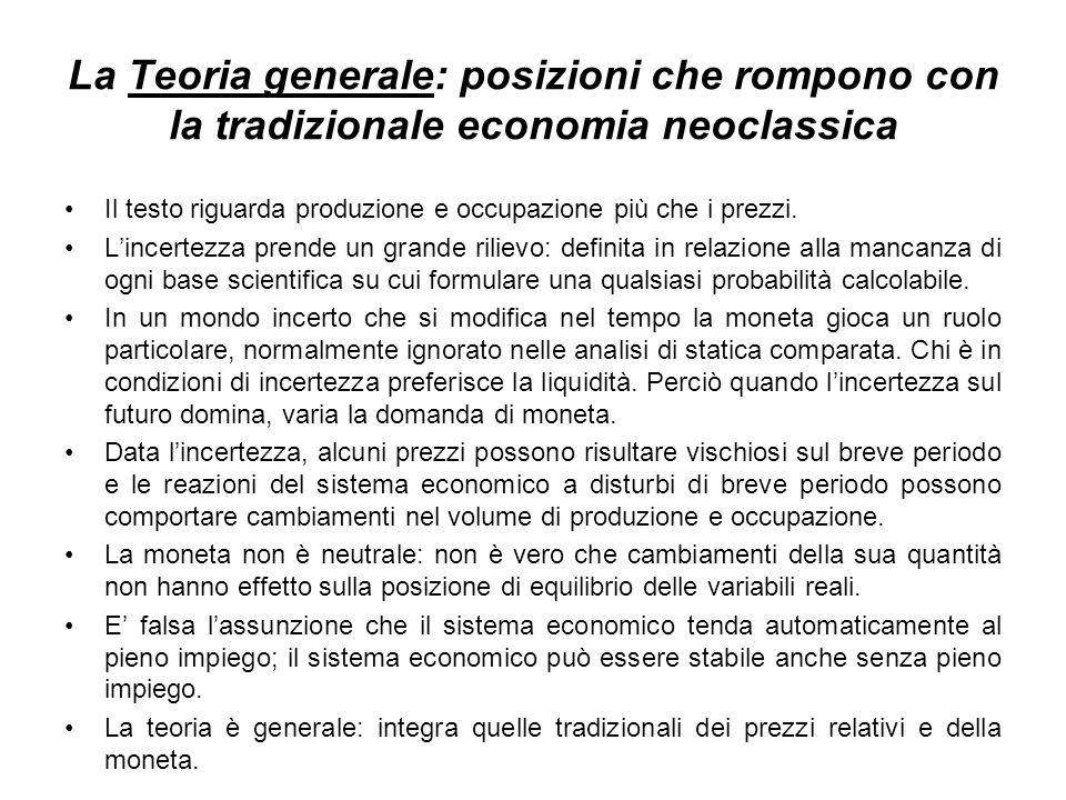 La Teoria generale: posizioni che rompono con la tradizionale economia neoclassica Il testo riguarda produzione e occupazione più che i prezzi.