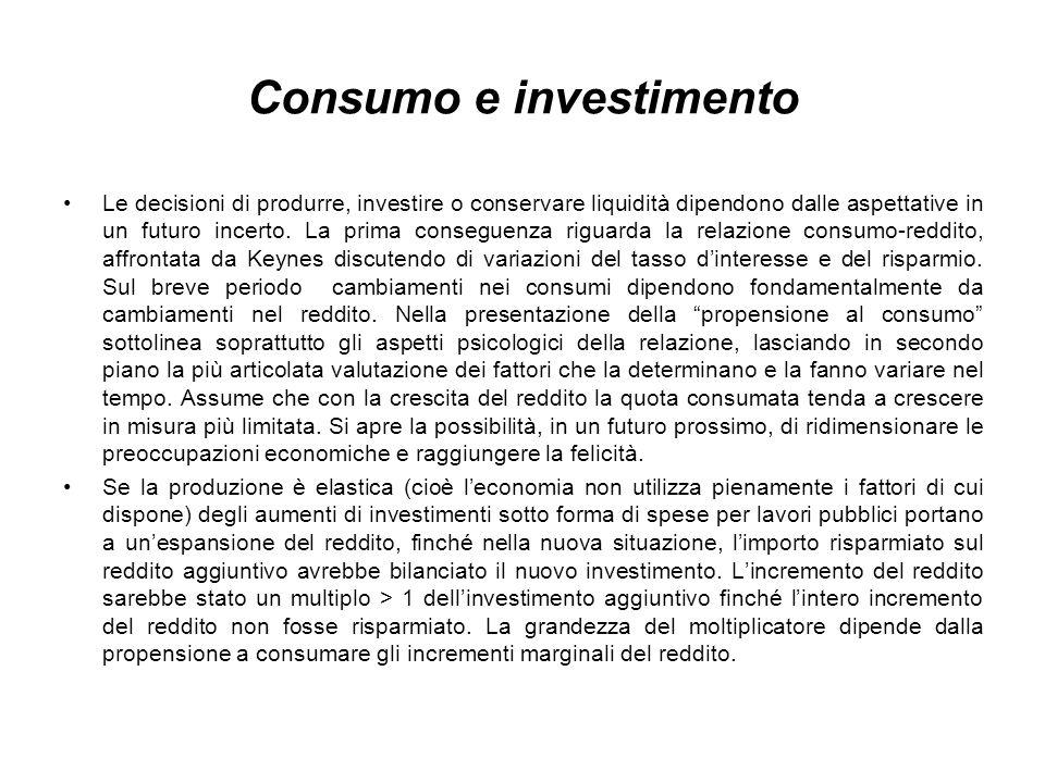 Consumo e investimento Le decisioni di produrre, investire o conservare liquidità dipendono dalle aspettative in un futuro incerto.