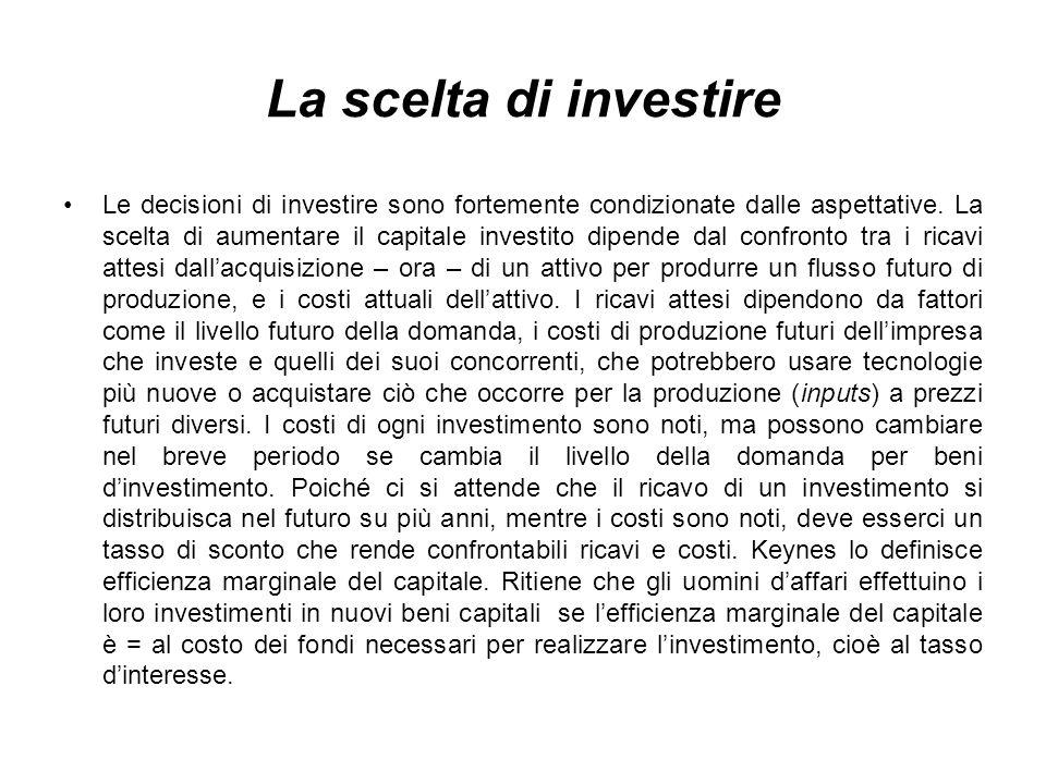 La scelta di investire Le decisioni di investire sono fortemente condizionate dalle aspettative.