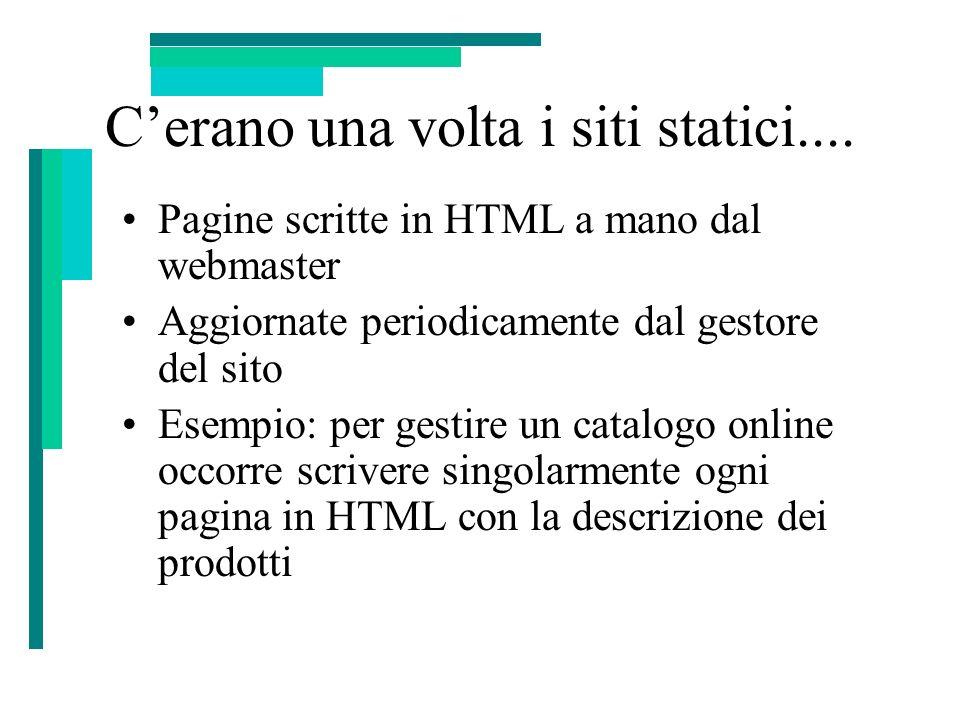 Cerano una volta i siti statici.... Pagine scritte in HTML a mano dal webmaster Aggiornate periodicamente dal gestore del sito Esempio: per gestire un
