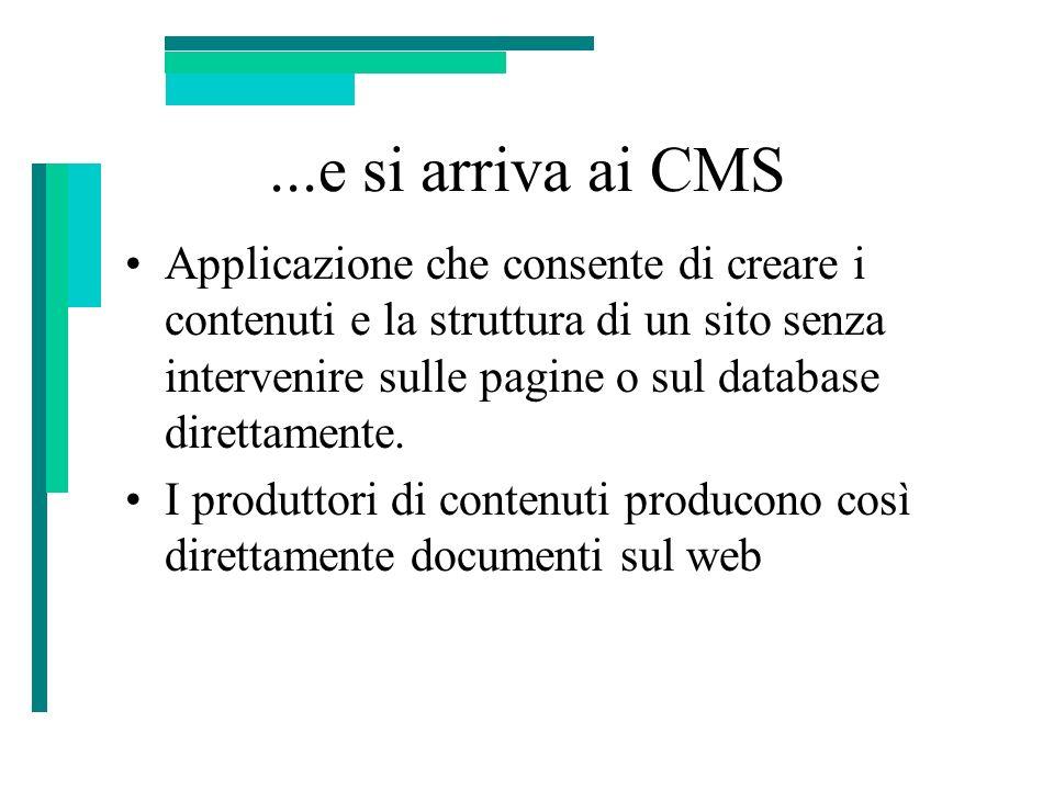 ...e si arriva ai CMS Applicazione che consente di creare i contenuti e la struttura di un sito senza intervenire sulle pagine o sul database direttam