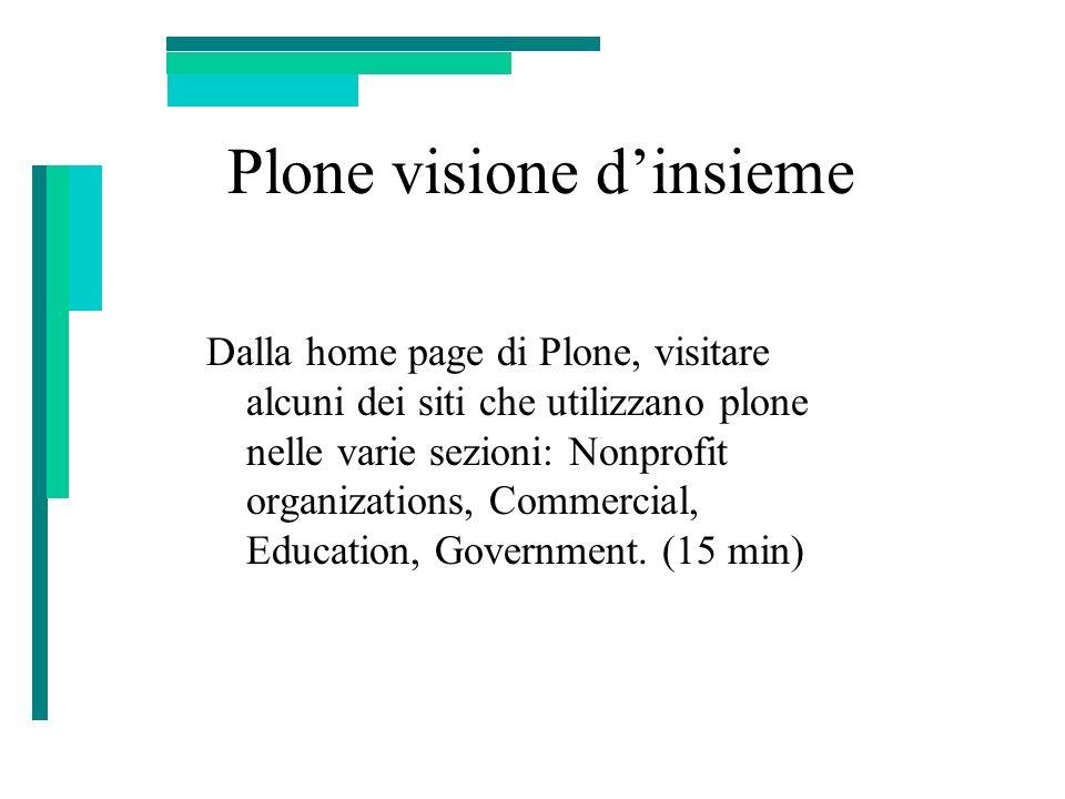 Plone visione dinsieme Dalla home page di Plone, visitare alcuni dei siti che utilizzano plone nelle varie sezioni: Nonprofit organizations, Commercia