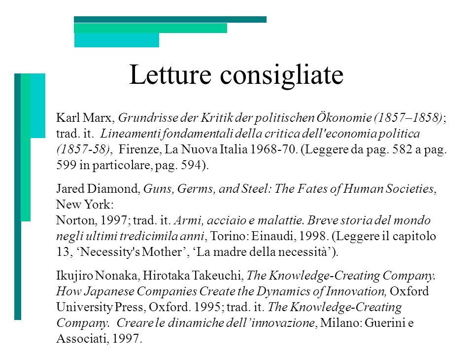 Letture consigliate Karl Marx, Grundrisse der Kritik der politischen Ökonomie (1857–1858); trad. it. Lineamenti fondamentali della critica dell'econom