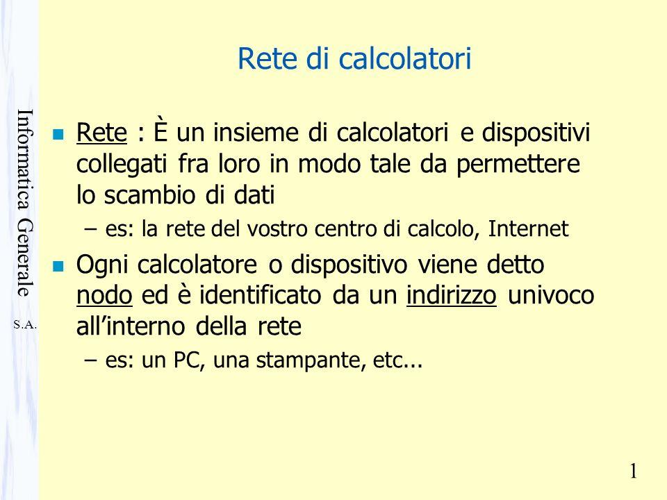 S.A. Informatica Generale 1 Rete di calcolatori n Rete : È un insieme di calcolatori e dispositivi collegati fra loro in modo tale da permettere lo sc