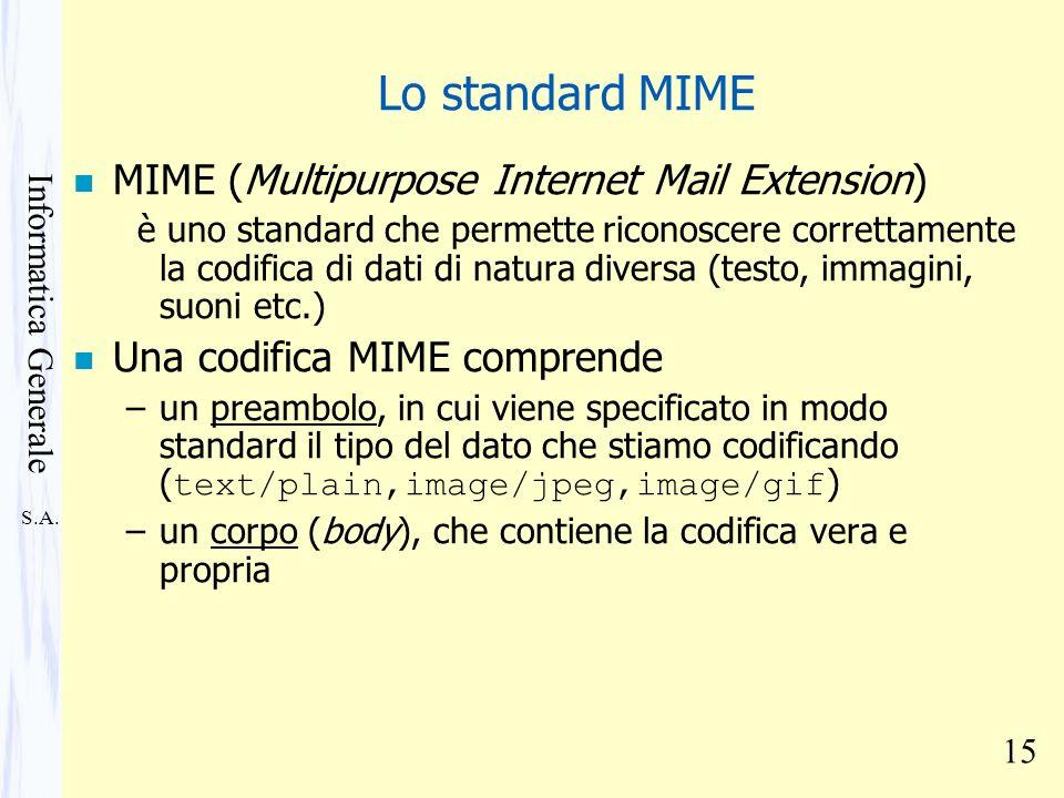 S.A. Informatica Generale 15 Lo standard MIME n MIME (Multipurpose Internet Mail Extension) è uno standard che permette riconoscere correttamente la c