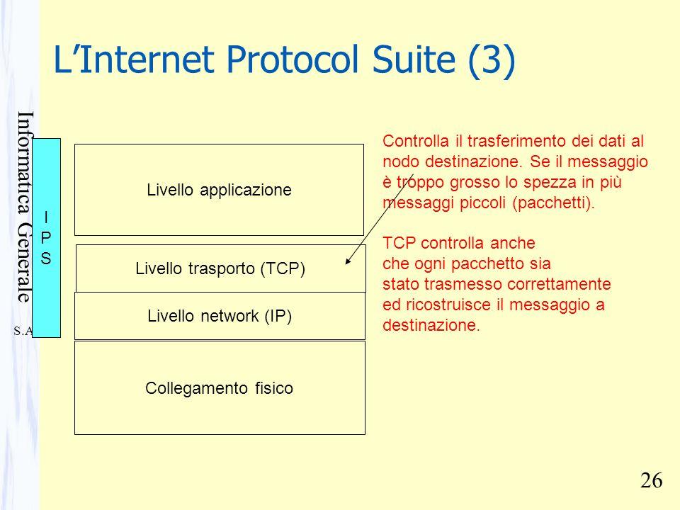 S.A. Informatica Generale 26 LInternet Protocol Suite (3) Collegamento fisico Livello network (IP) Livello trasporto (TCP) Controlla il trasferimento