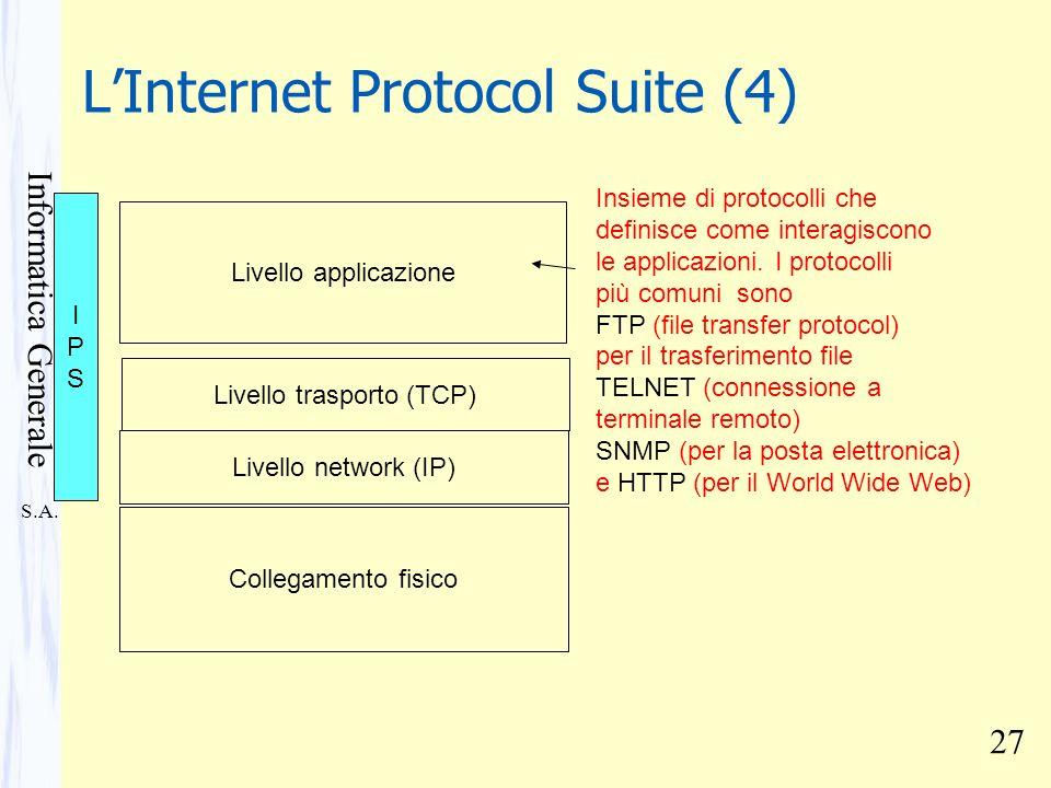 S.A. Informatica Generale 27 LInternet Protocol Suite (4) Collegamento fisico Livello network (IP) Livello trasporto (TCP) Insieme di protocolli che d