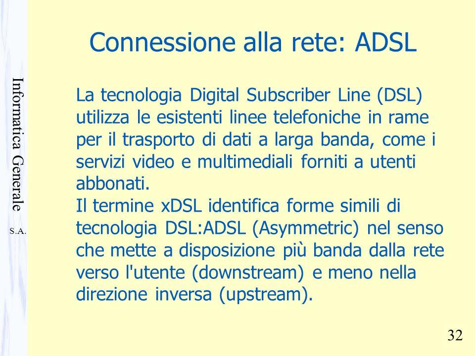 S.A. Informatica Generale 32 Connessione alla rete: ADSL La tecnologia Digital Subscriber Line (DSL) utilizza le esistenti linee telefoniche in rame p