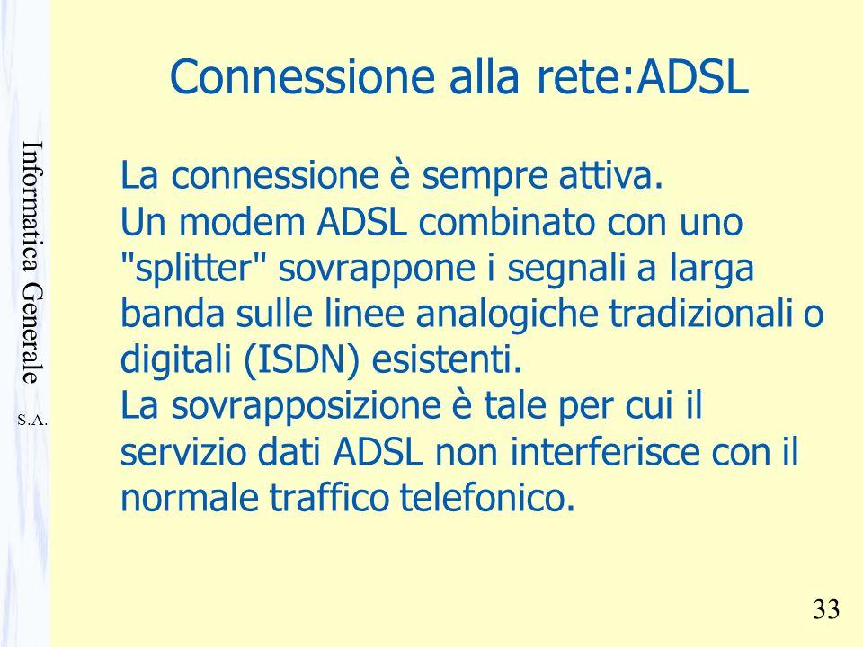 S.A. Informatica Generale 33 Connessione alla rete:ADSL La connessione è sempre attiva. Un modem ADSL combinato con uno