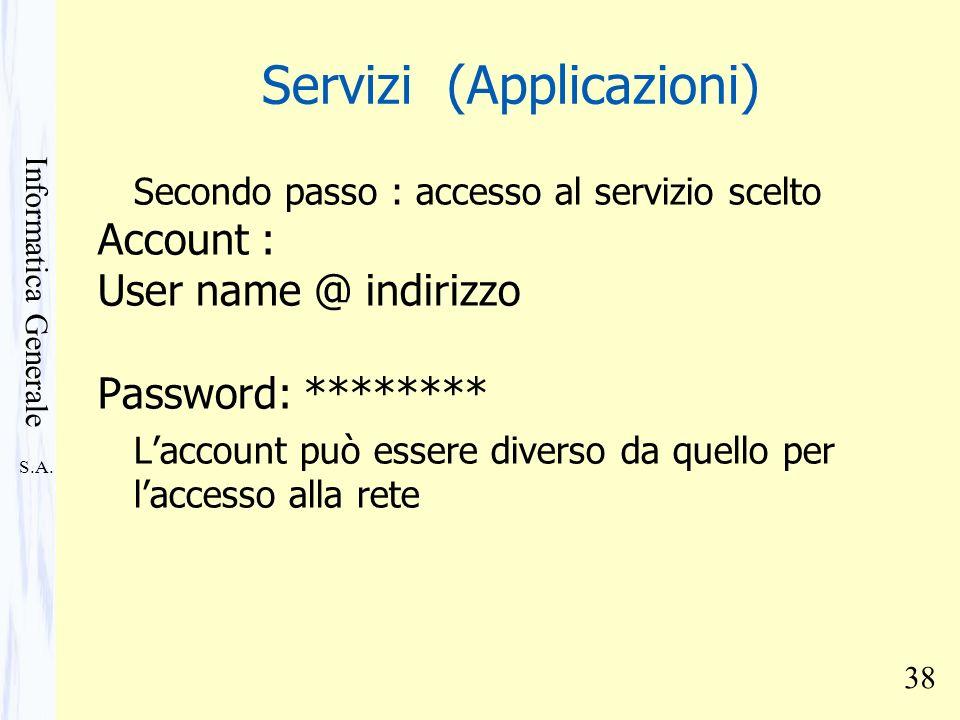 S.A. Informatica Generale 38 Servizi (Applicazioni) Secondo passo : accesso al servizio scelto Account : User name @ indirizzo Password: ******** Lacc