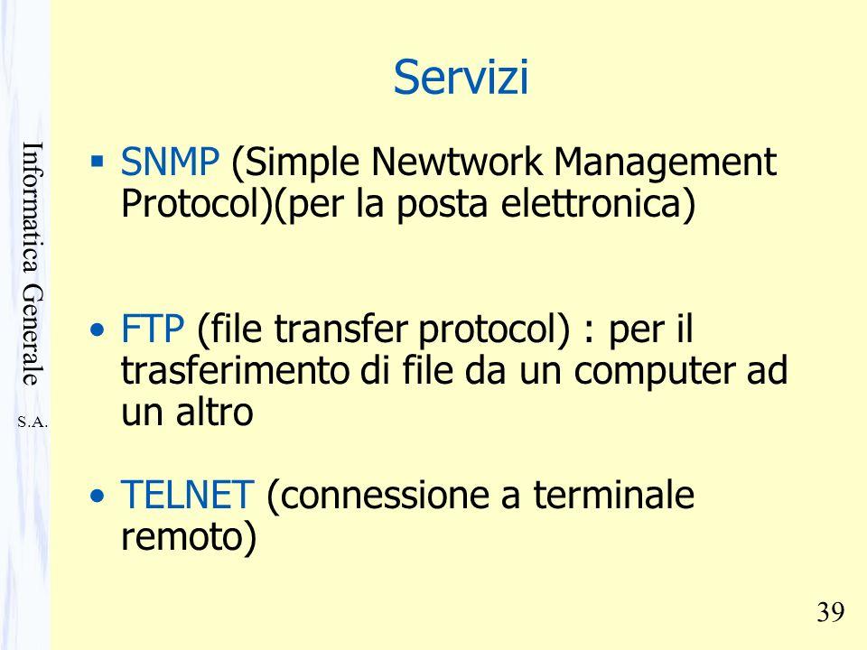 S.A. Informatica Generale 39 Servizi SNMP (Simple Newtwork Management Protocol)(per la posta elettronica) FTP (file transfer protocol) : per il trasfe