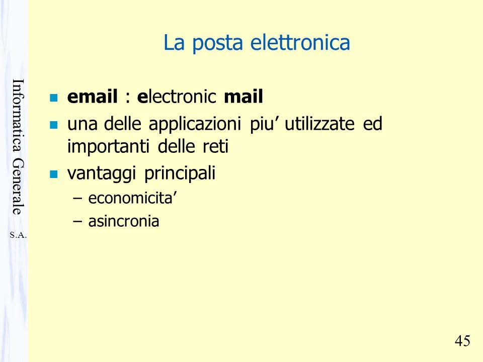 S.A. Informatica Generale 45 La posta elettronica n email : electronic mail n una delle applicazioni piu utilizzate ed importanti delle reti n vantagg