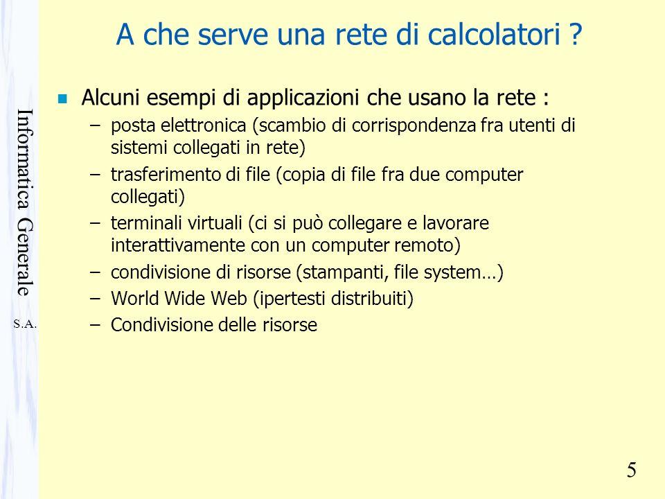 S.A. Informatica Generale 5 A che serve una rete di calcolatori ? n Alcuni esempi di applicazioni che usano la rete : –posta elettronica (scambio di c