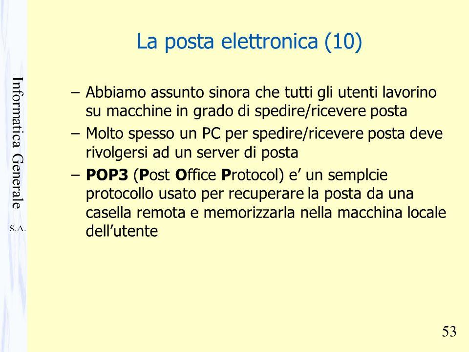 S.A. Informatica Generale 53 La posta elettronica (10) –Abbiamo assunto sinora che tutti gli utenti lavorino su macchine in grado di spedire/ricevere