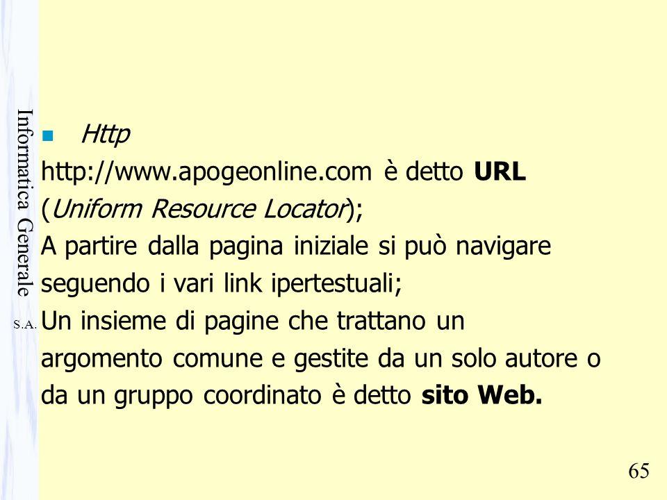 S.A. Informatica Generale 65 n Http http://www.apogeonline.com è detto URL (Uniform Resource Locator); A partire dalla pagina iniziale si può navigare