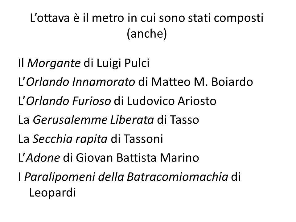 Lottava è il metro in cui sono stati composti (anche) Il Morgante di Luigi Pulci LOrlando Innamorato di Matteo M. Boiardo LOrlando Furioso di Ludovico